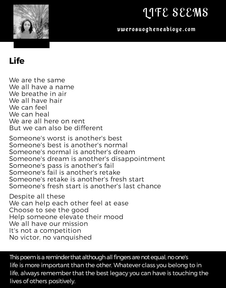 Poem: The world we live, life