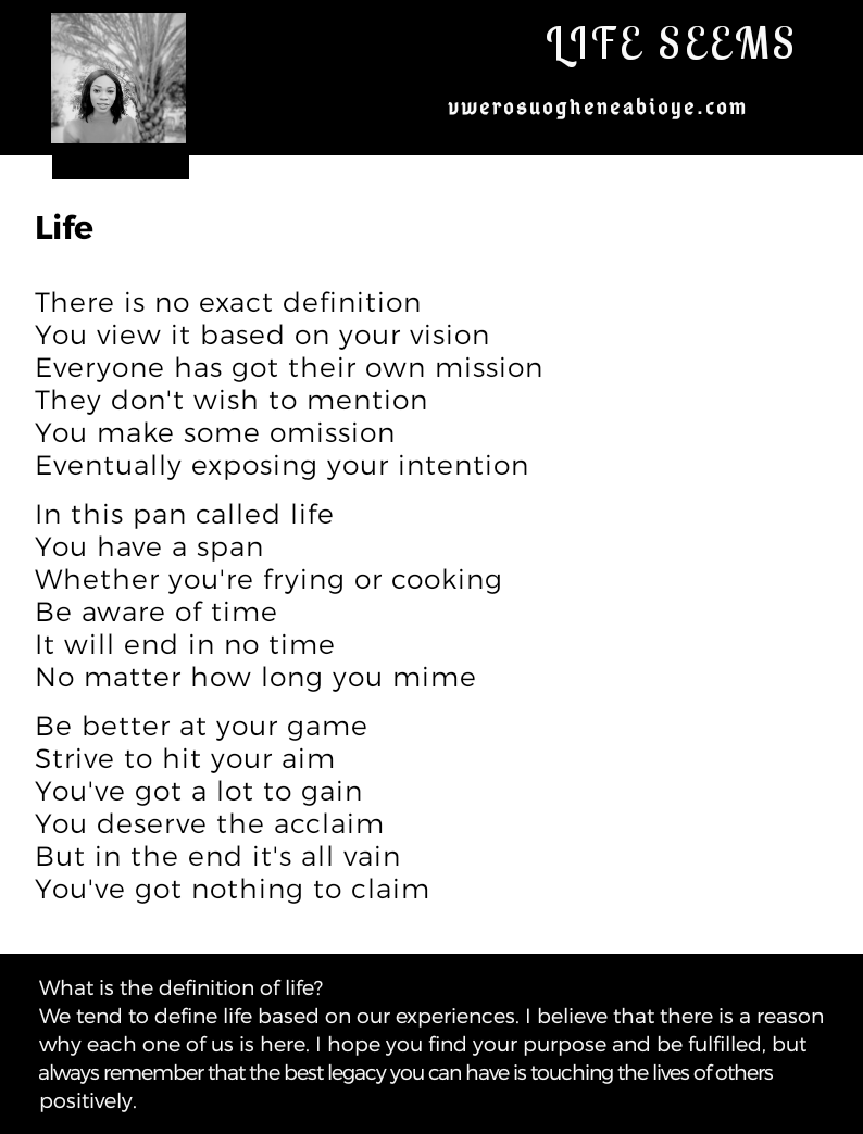 Poem: What is the definition of life?