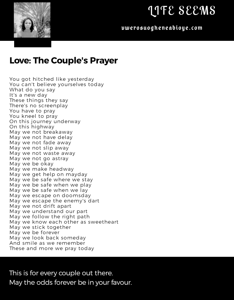 Poem: The Couple's Prayer