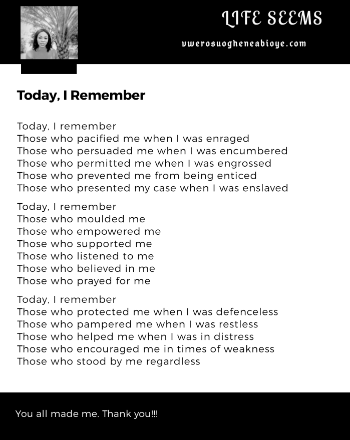 Poem: Today I Remember