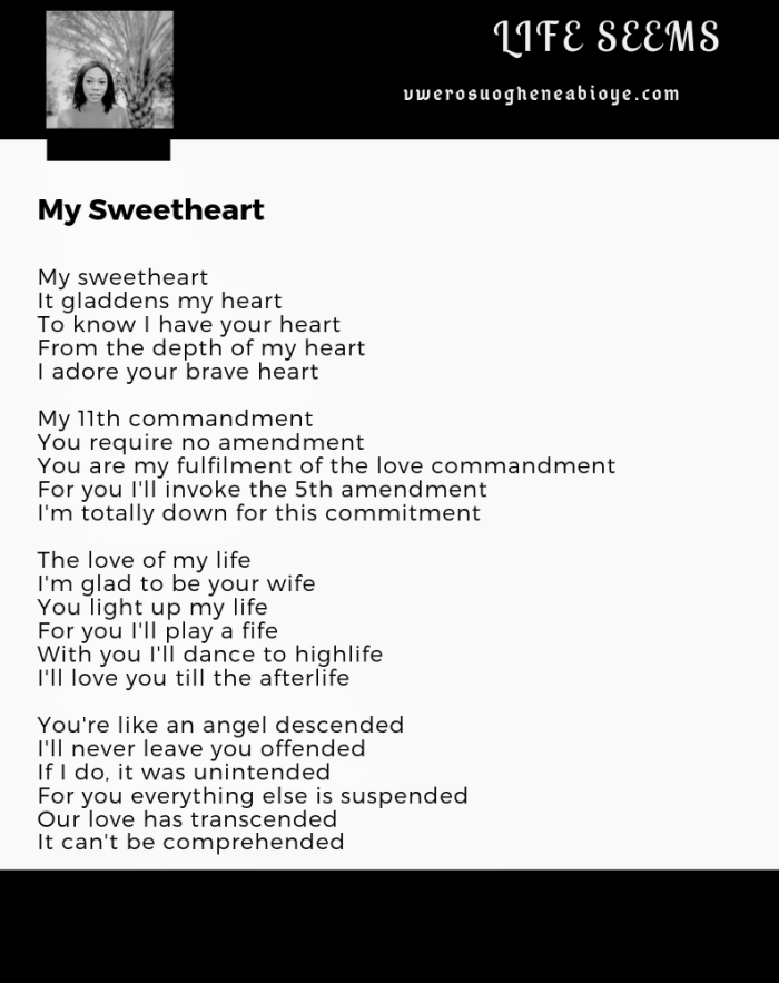 Poem: My Sweetheart