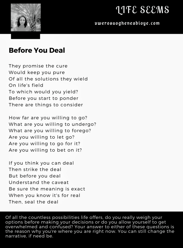 Poem: Before you deal, life