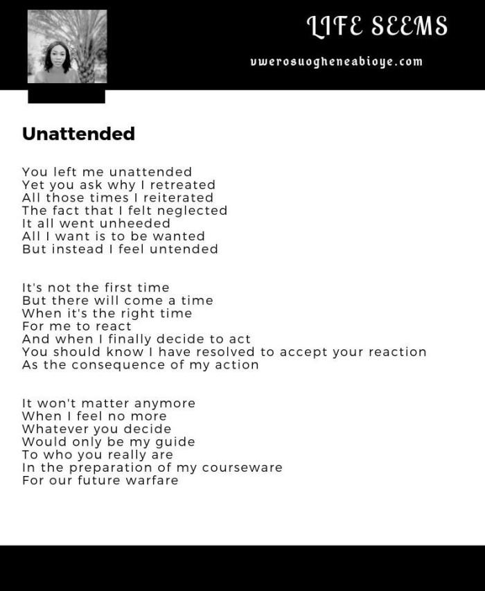 Poem: Unattended