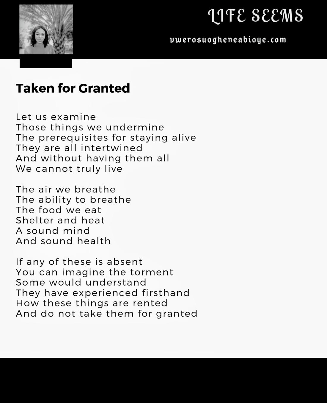 Poem: Taken for Granted