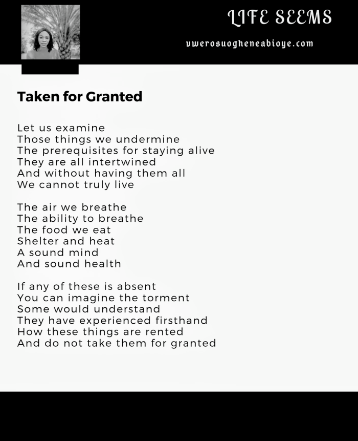 Poem: Taken for Granted