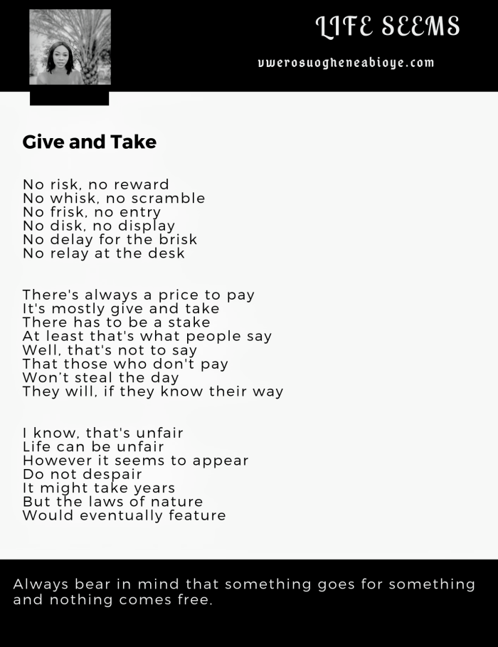 Poem: Give and Take