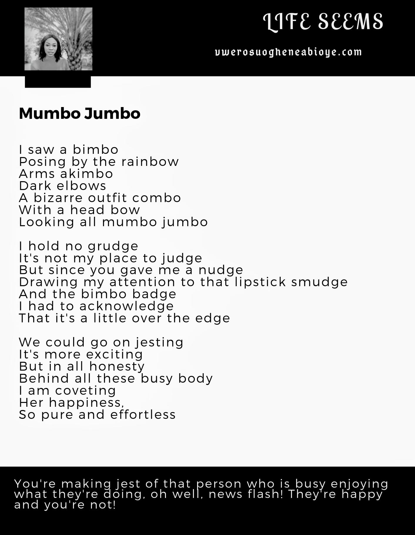 Poem: Mumbo Jumbo