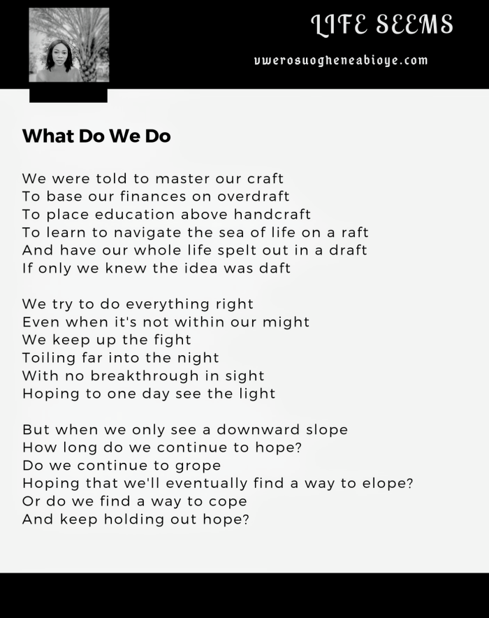 Poem: What Do We Do