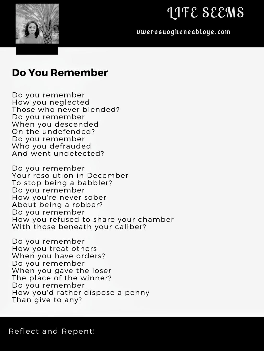 Poem: Do You Remember