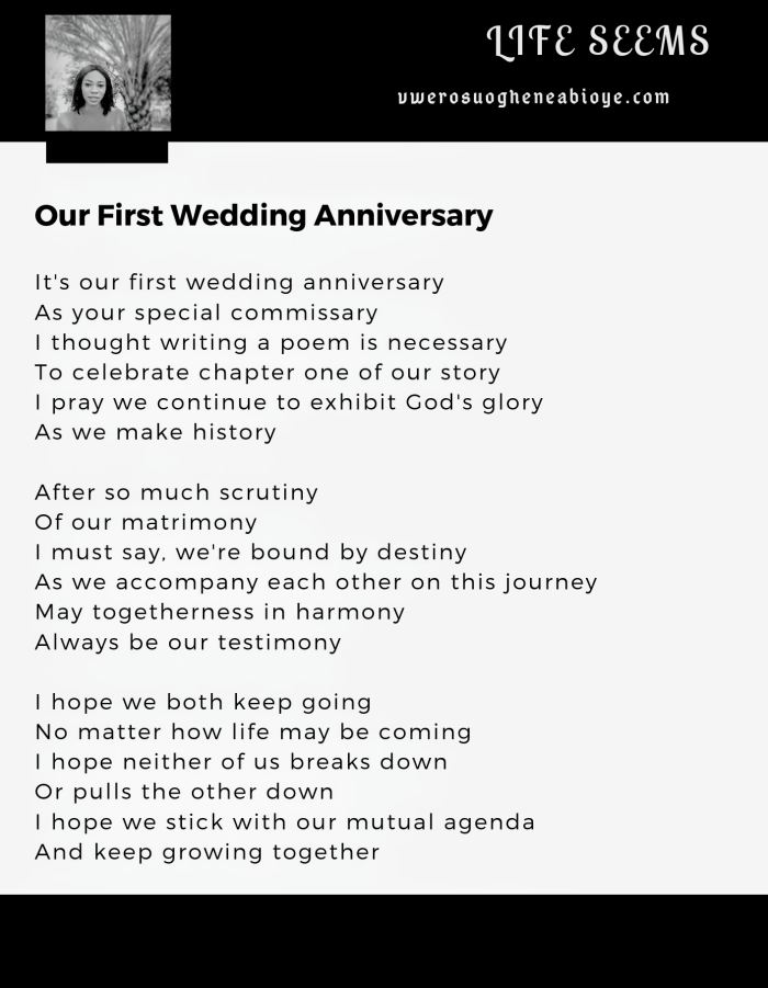 Poem: Our First Wedding Anniversary