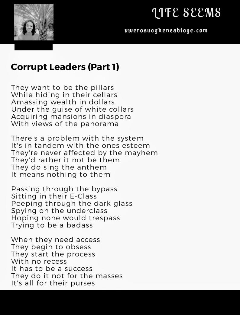 Poem: Corrupt Leaders Part 1