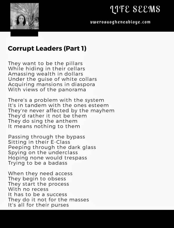 Poem: Corrupt Leaders Part 1