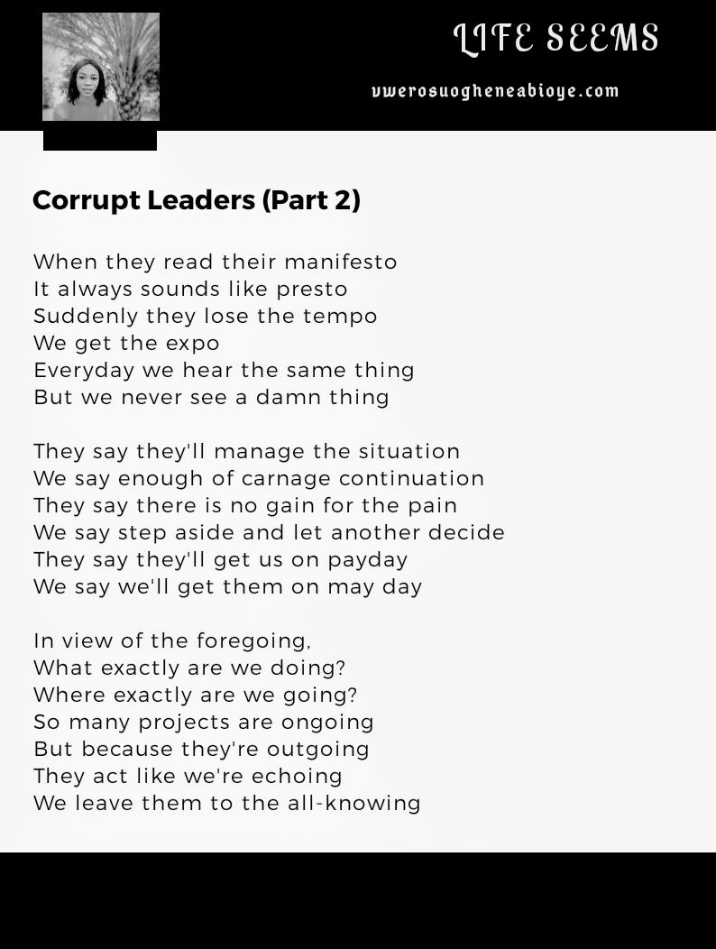 Poem: Corrupt Leaders (Part 2)