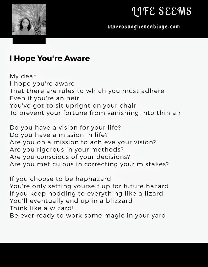 Poem: I hope you're aware