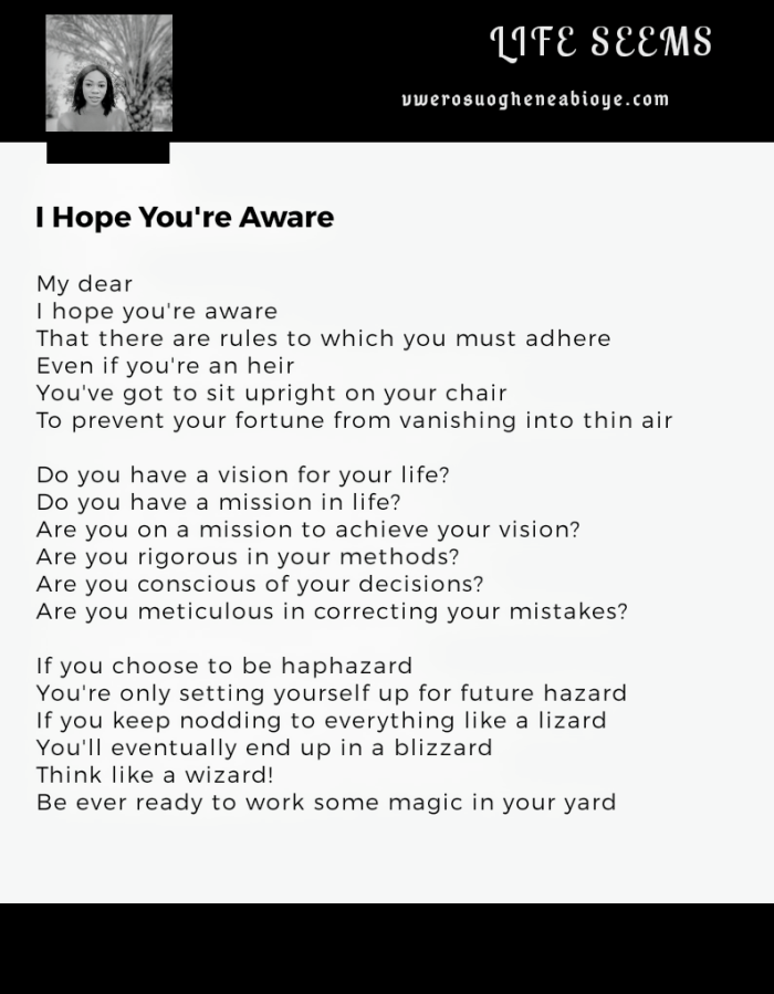 Poem: I hope you're aware