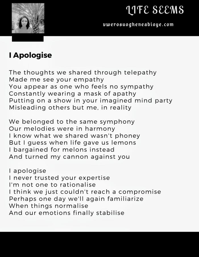 Poem: I apologise