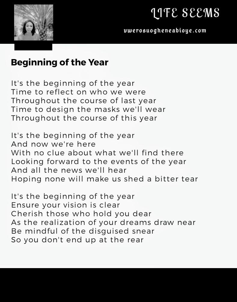 Poem: Beginning of the Year