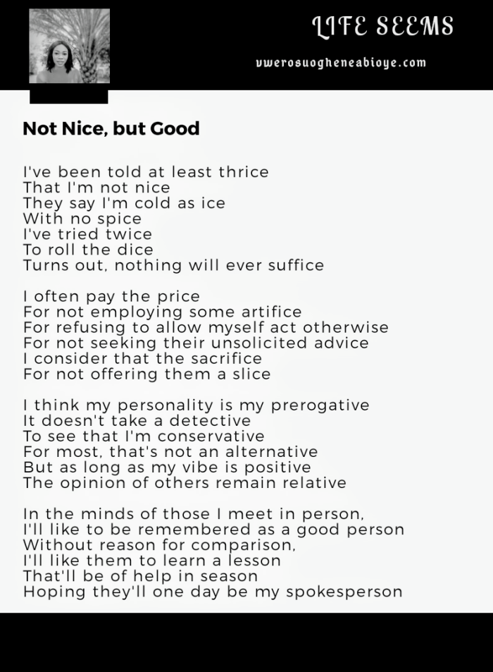 Poem: Not Nice, but Good