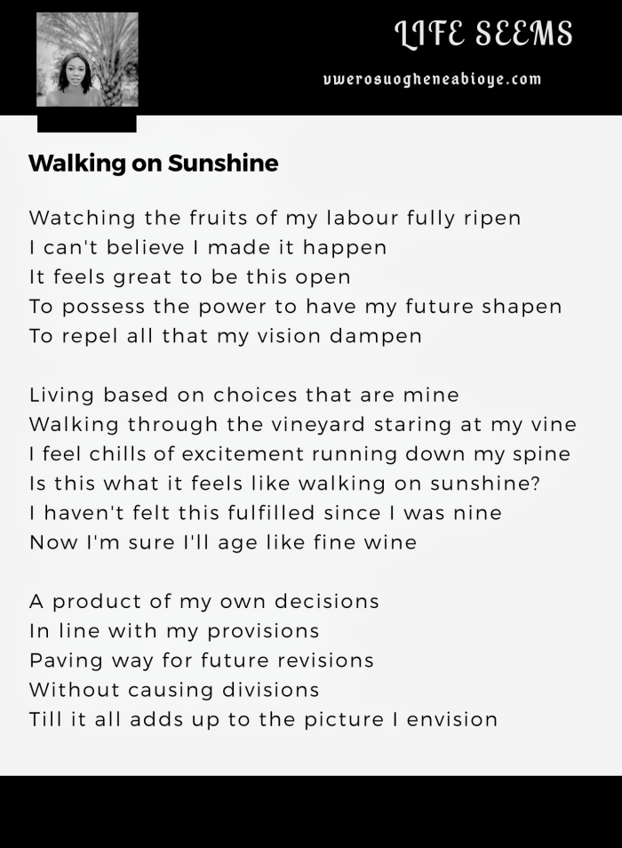Poem: Walking on Sunshine