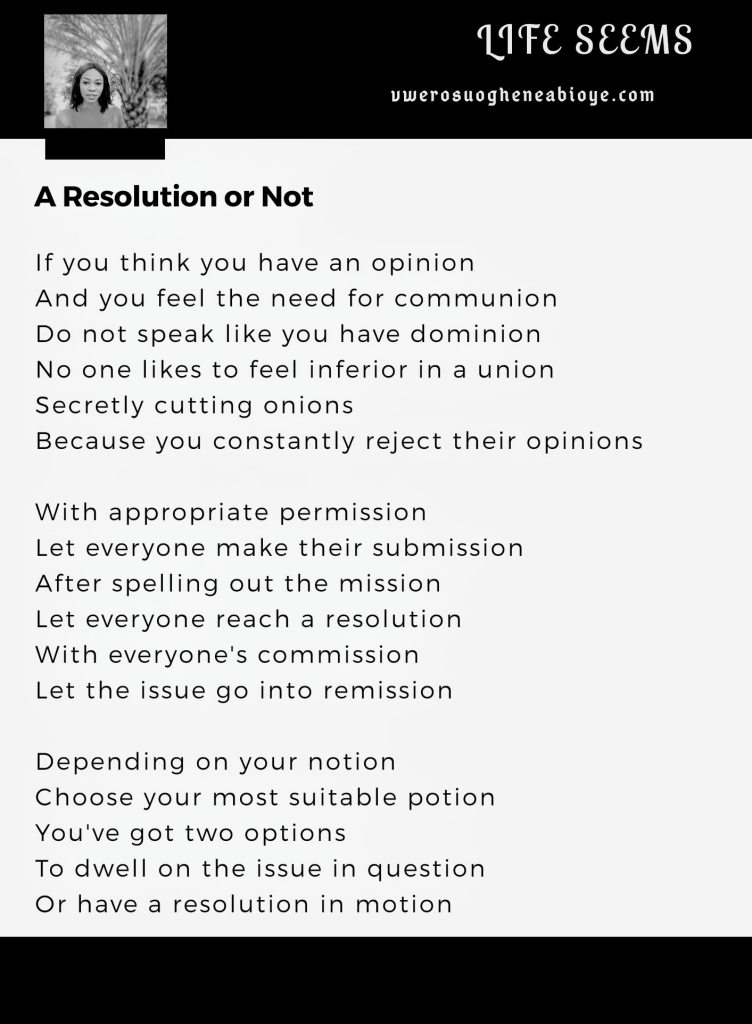 Poem: A Resolution or not