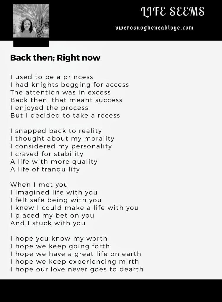 Poem: Back then; Right now
